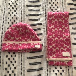Coach cashmere hat and scarf set